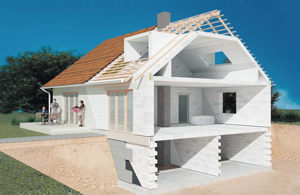 строительство дома из пеноблоков с подземным гаражом