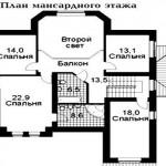 проект 1 дома из керамзитоблока как выглядит схема второго (мансардного) этажа