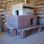 Каминная печь, сложенная из шамотного кирпича №2