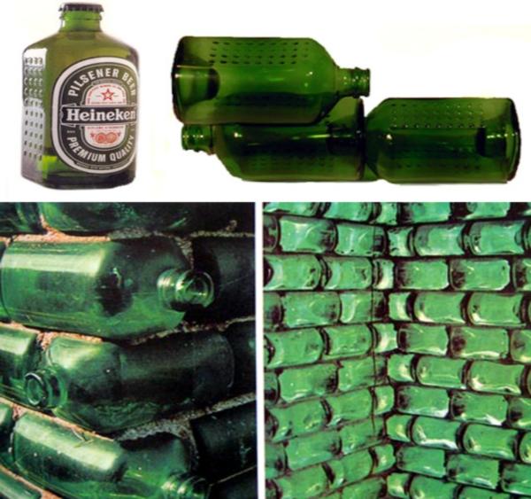 Использование бутылок в качестве кирпича