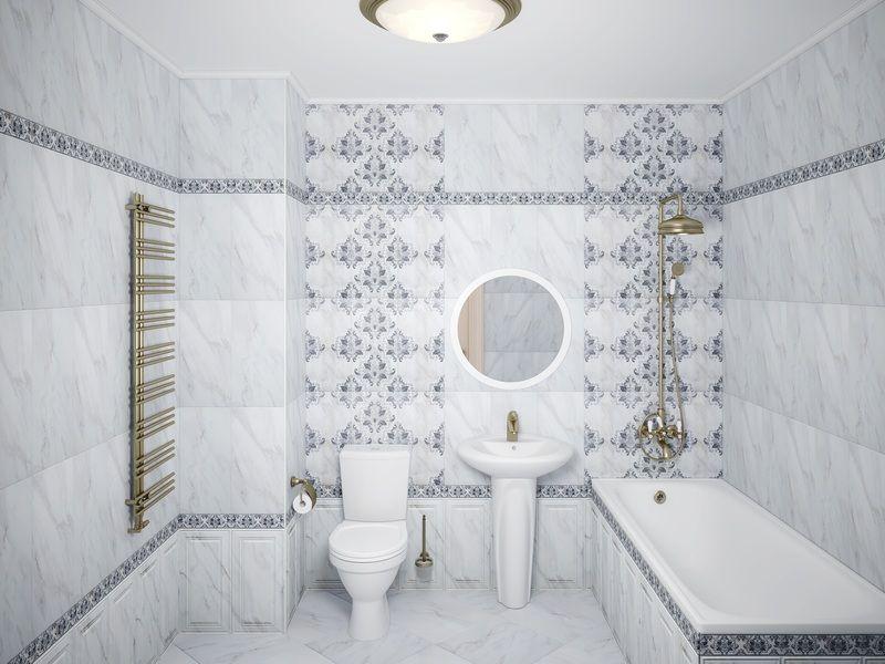 Фото плитки майолики от Уралкерамики в интерьере ванной